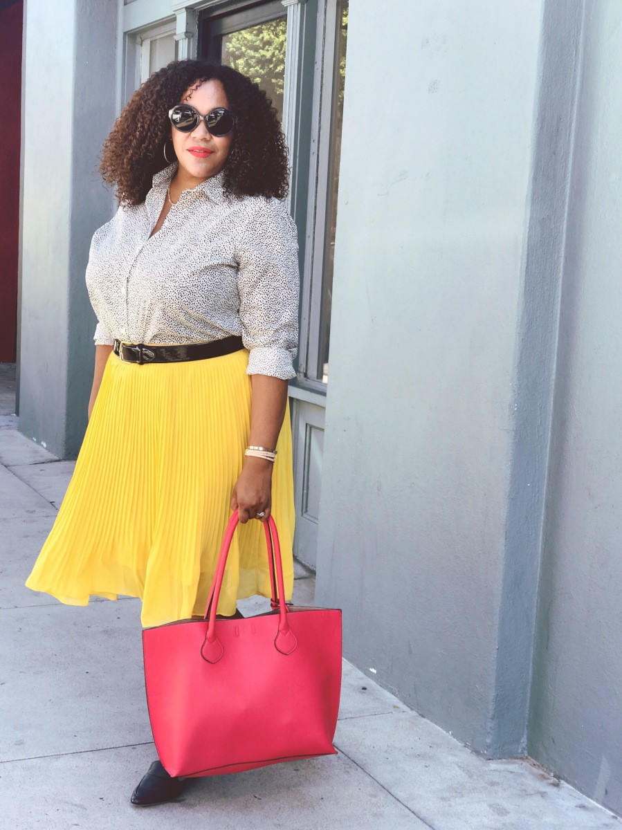 A Yellow Midi Skirt and an Animal Print Shirt
