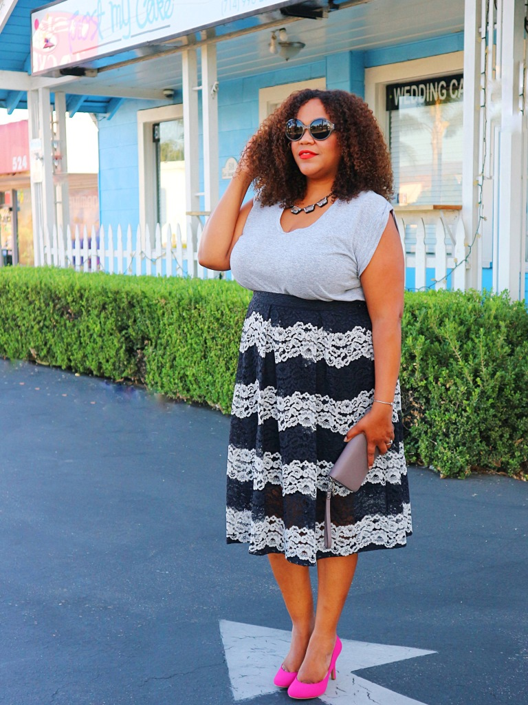A Midi Skirt with some Lace – Mix It Up With Curves