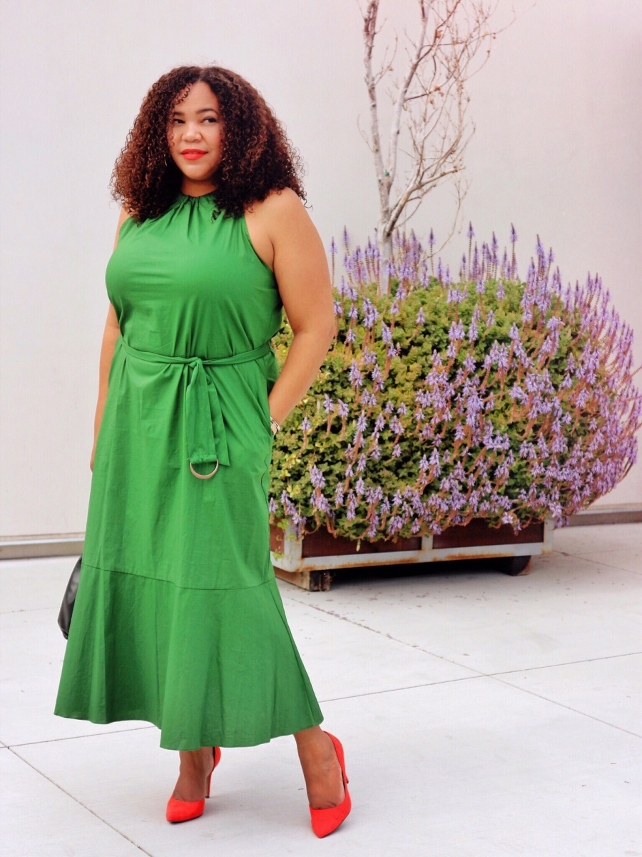 A High Neck Midi Green Dress